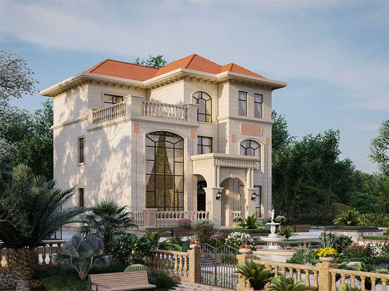 【预售】三层欧式豪华别墅设计方案图,挑空旋转梯+前厅+大露台的多卧室布局