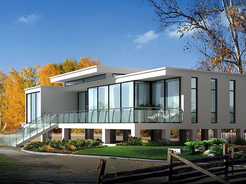 一层现代风简洁大气观景平台农村自建别墅设计图 施工图纸全套