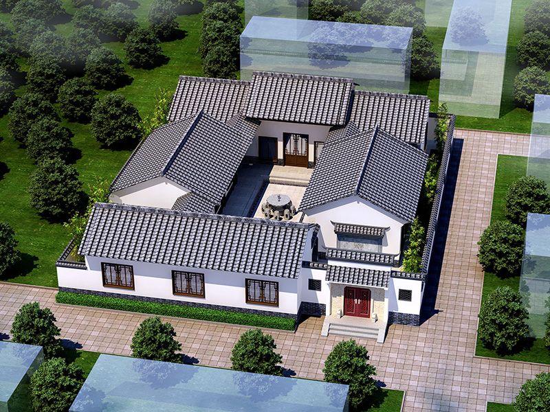 新中式四合院农村别墅设计图及效果图纸全套