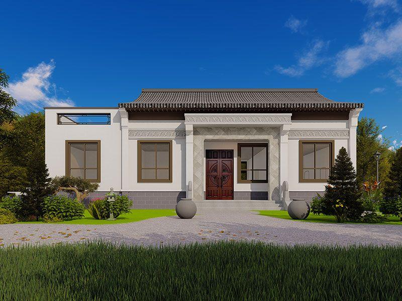 一层新中式别墅外观图片占地面积150平左右