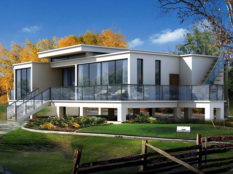 全套一层现代风格乡村别墅设计图纸,简约大气!(底框结构)