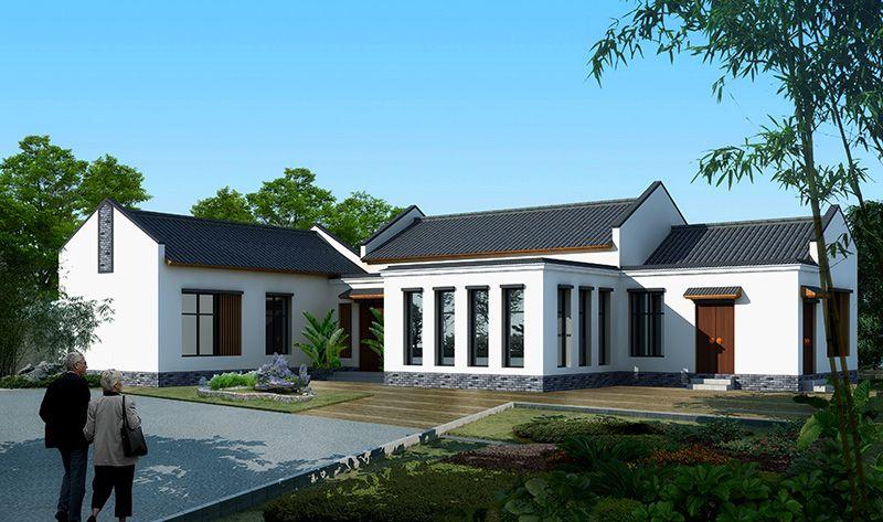 新农村一层中式风格别墅设计及施工全套图纸