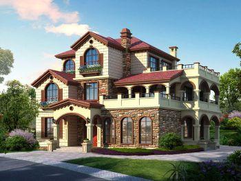 三层托斯卡纳乡村独栋别墅设计图及效果图纸