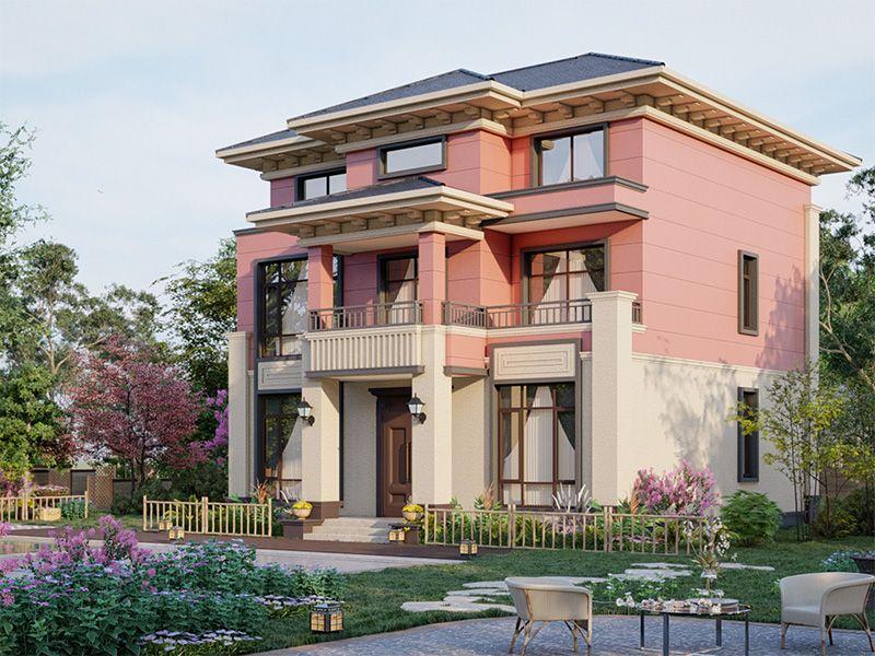 130平三层小别墅,小占地的气派乡墅设计