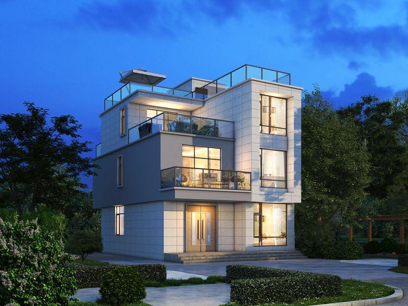 三层现代风格别墅设计图,小占地个性乡墅
