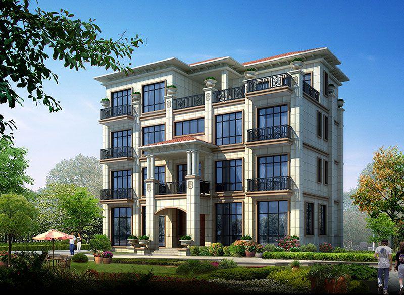 四层欧式乡村豪华大型民宿会所设计效果图纸