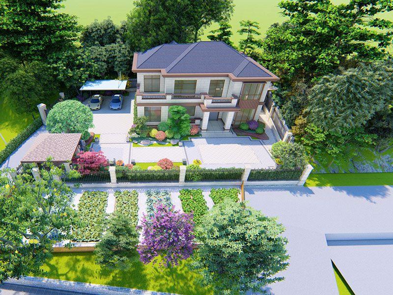 农村小庭院设计效果图,现代简约园林景观小别墅