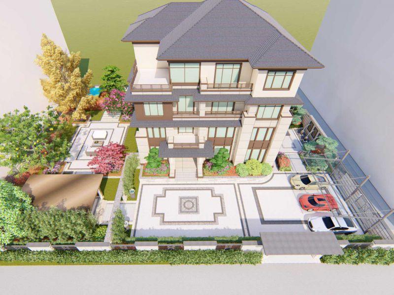 别墅庭院设计效果图,四层豪华新中式带车库