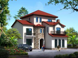 三层托斯卡纳风花园别墅自建房施工效果图纸全套