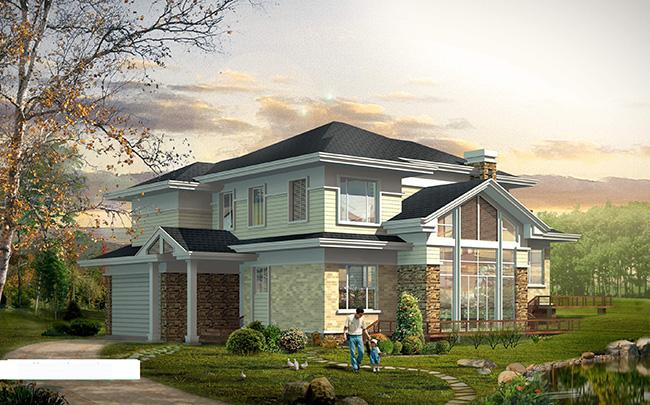 现代新农村二层房屋2