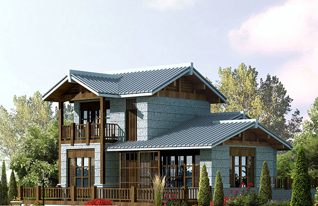 农村二层木结构别墅