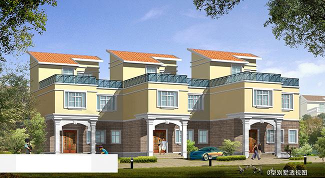 农村双排二栋连体别墅设计图