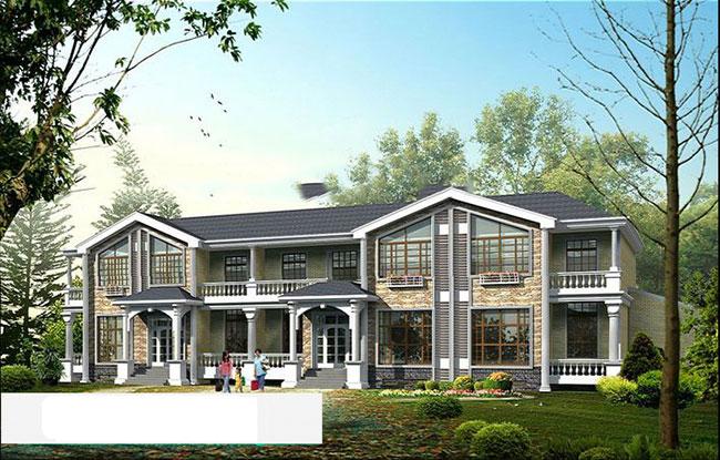 农村住宅双排别墅设计