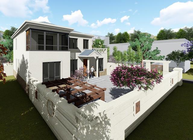 2018年最新款农村二层别墅设计图及实景图,主体35万建6室3厅746.png