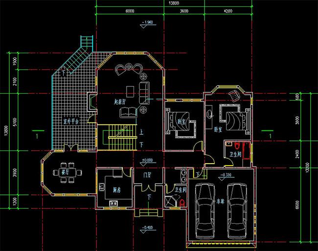 高档大气二层加地下室自建别墅设计图,241平米带车库173.jpg