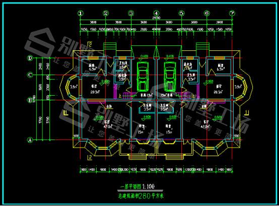 2层双拼别墅CAD图
