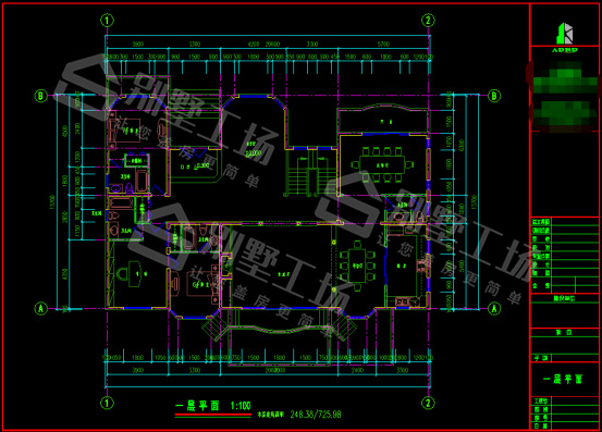 乡村三层豪华别墅CAD2