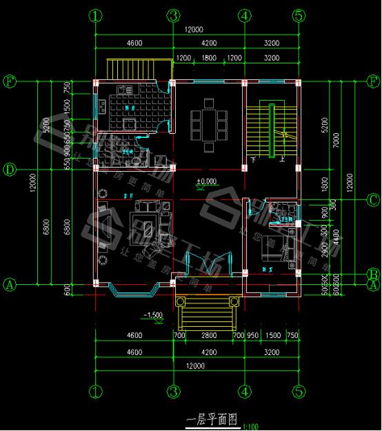 3层150平别墅一层平面图