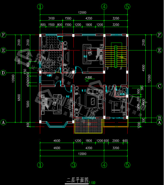 3层150平别墅二层平面图
