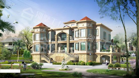 三层豪华型别墅建筑效果图