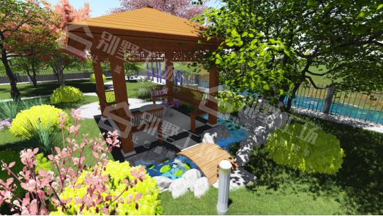 农村小庭院围栏别墅景观亭