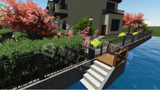 农村小庭院围栏别墅码头