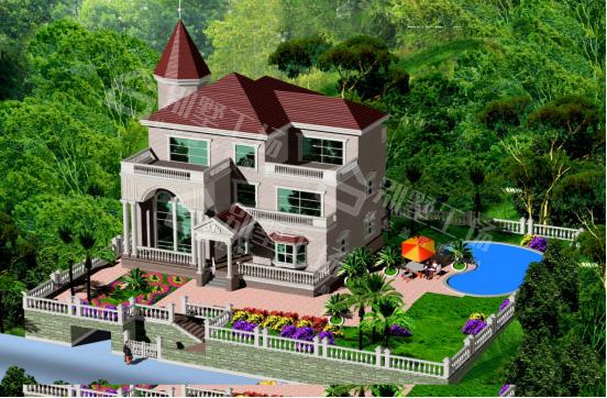 带泳池和花园的别墅