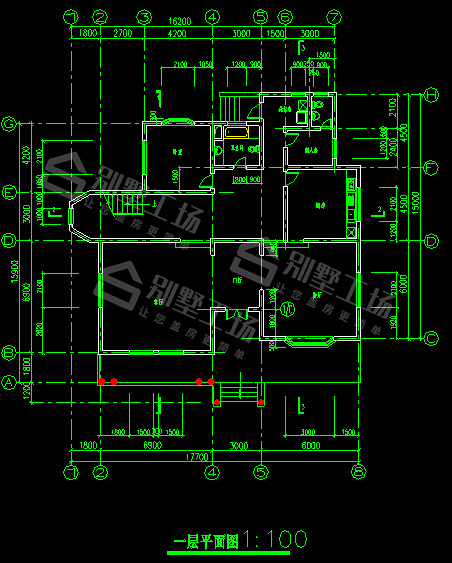 带泳池和花园的别墅CAD