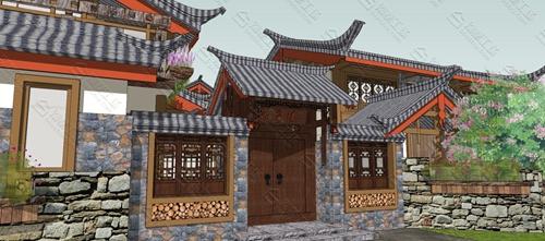 中式民宿设计效果图图片2