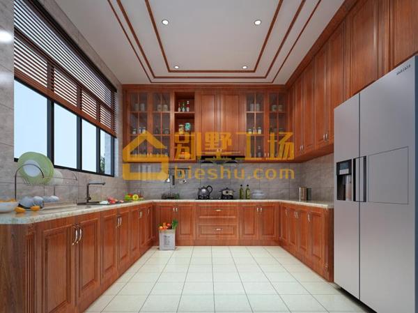 原木定制别墅装修设计-厨房