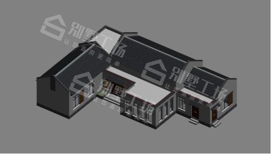 七字形一层房屋设计图模型图