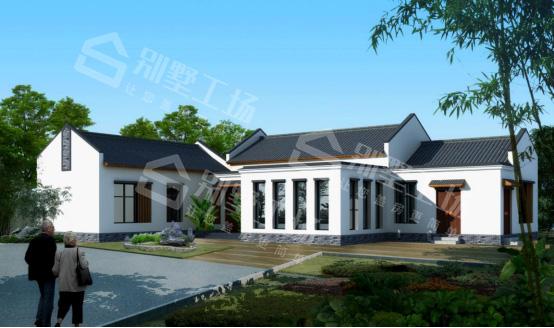 七字形一层房屋设计图效果图