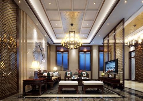 现代中式别墅室内装修图欣赏