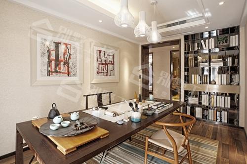 年轻人喜欢现代中式装修会客厅展示图