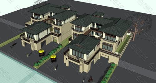 农村三层中式别墅图片