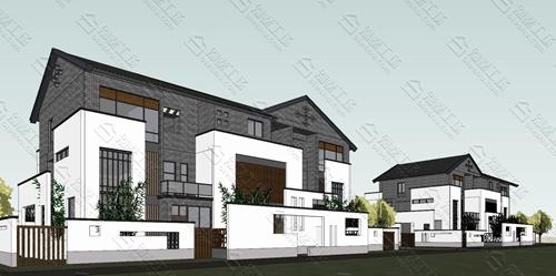 别墅三层中式风格外观雅素风格