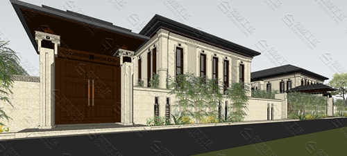 农村自建房中式三层别墅