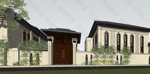 中式风格三层背书大门庭院风光欣赏