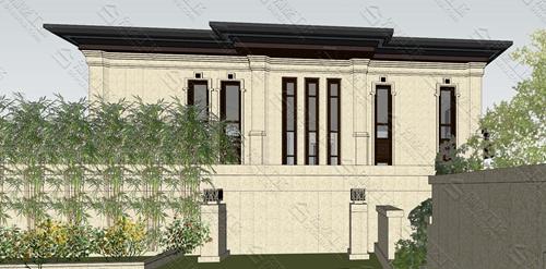 中式外观三层别墅效果图