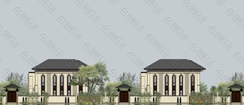 带庭院的农村自建三层中式风格外观