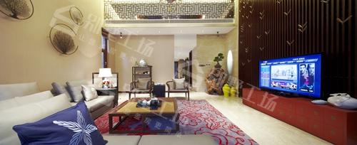 三层中式别墅客厅实景图