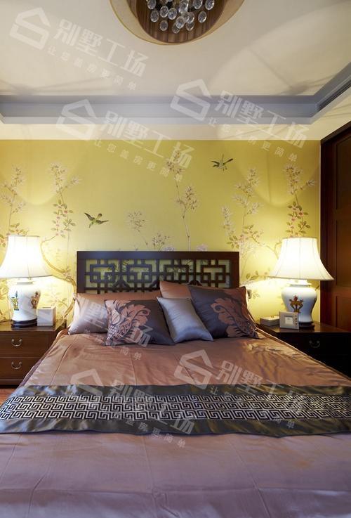 三层中式别墅卧室细节装修真实图片