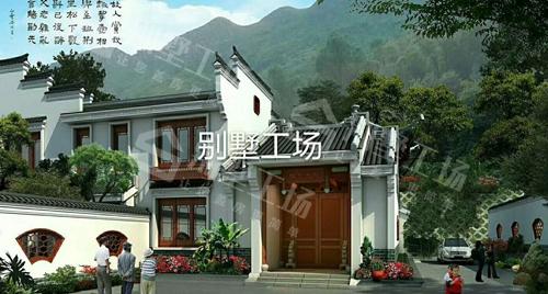 好看的四合院两层小别墅大门方向展示图片