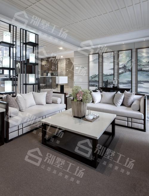 两层农村新中式庭院小别墅客厅装修图一