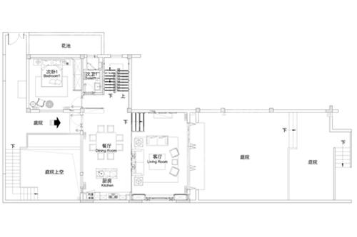 两层农村新中式庭院小别墅一楼户型图