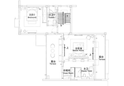 两层农村新中式庭院小别墅二楼户型图