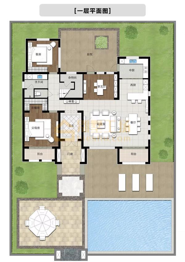 二层豪华别墅一层平面图