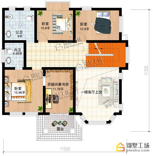农村120平自建房二层户型图