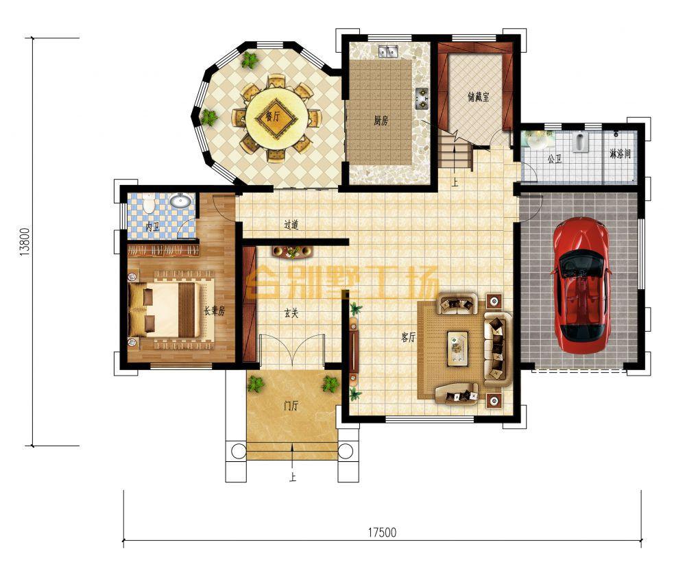 豪华欧式农村二层小楼一层平面图