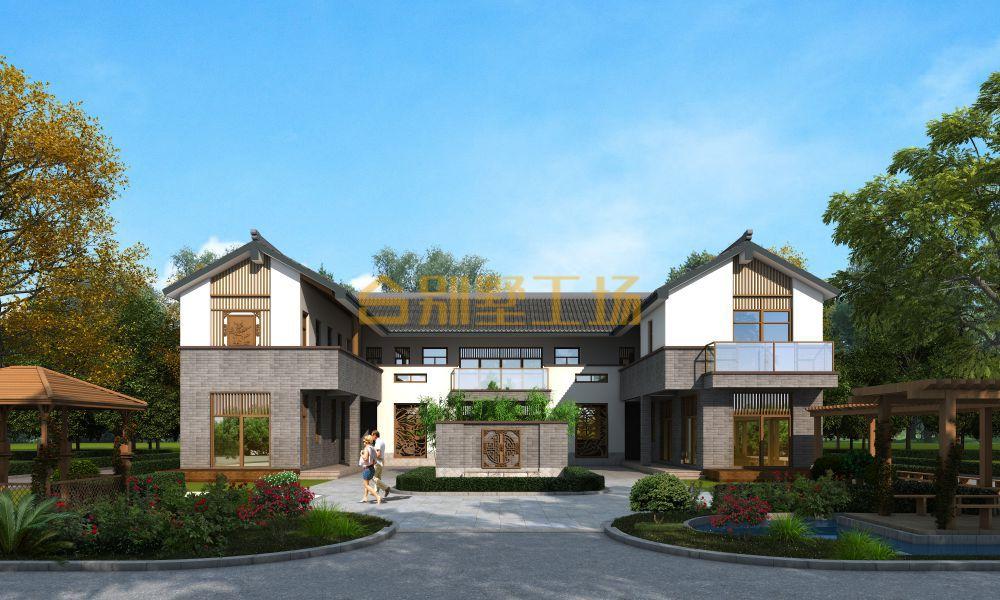 占地300多平新中式乡村二层自建小楼效果图
